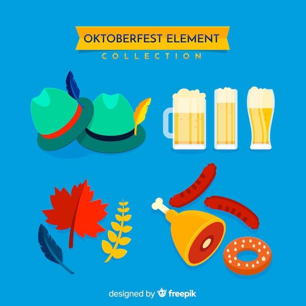 Klasyczna Kolekcja Elementów Oktoberfest Z Płaskiej Konstrukcji Darmowych Wektorów