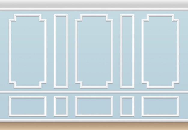 Klasyczna niebieska ściana z panelem formującym. dom luksusowe wnętrze z ramami formierskimi. Premium Wektorów