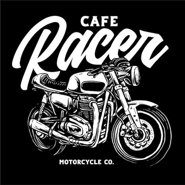 Klasyczna Niestandardowa Ilustracja Motocykla Premium Wektorów