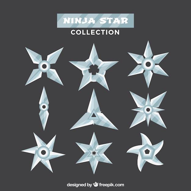 Klasyczna paczka gwiazd ninja o płaskiej konstrukcji Darmowych Wektorów