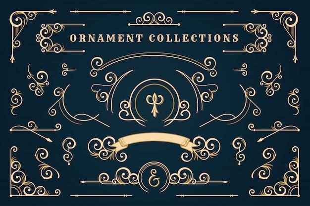 Klasyczna Ramka Ornament, Zestaw Vintage Granicy Premium Wektorów