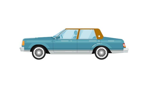 Klasyczna retro sedan na białym tle ilustracja Premium Wektorów