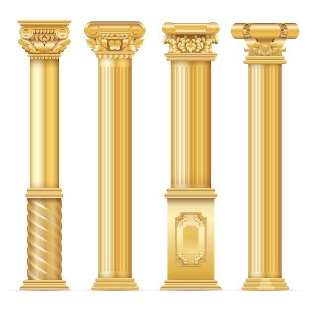 Klasyczne antyczne złote kolumny ustawione. kolumny architektury, klasyczny filar architektoniczny Premium Wektorów