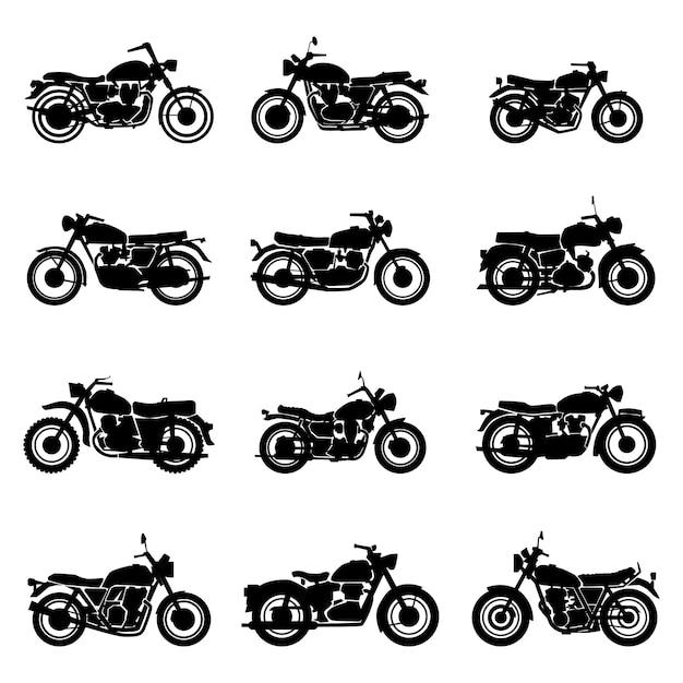 Klasyczne Drogowe Zabytkowe Motocykle Wektor Zestaw Ilustracji Premium Wektorów
