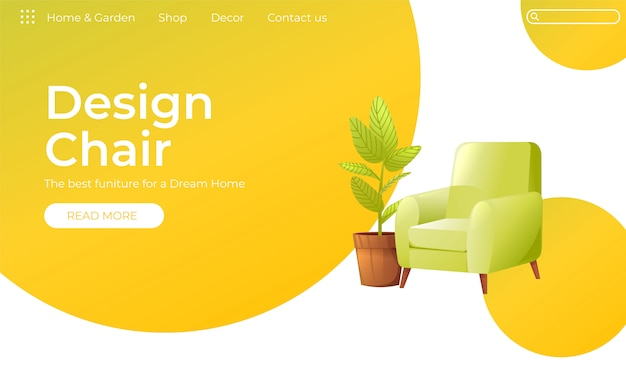 Klasyczne krzesło do baneru do dekoracji wnętrz Darmowych Wektorów