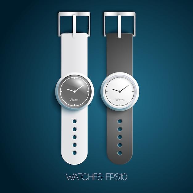 Klasyczne Szwajcarskie Zegarki Z Biało-szarymi Skórzanymi Opaskami I Tarczami W Realistycznym Stylu Na Białym Tle Premium Wektorów