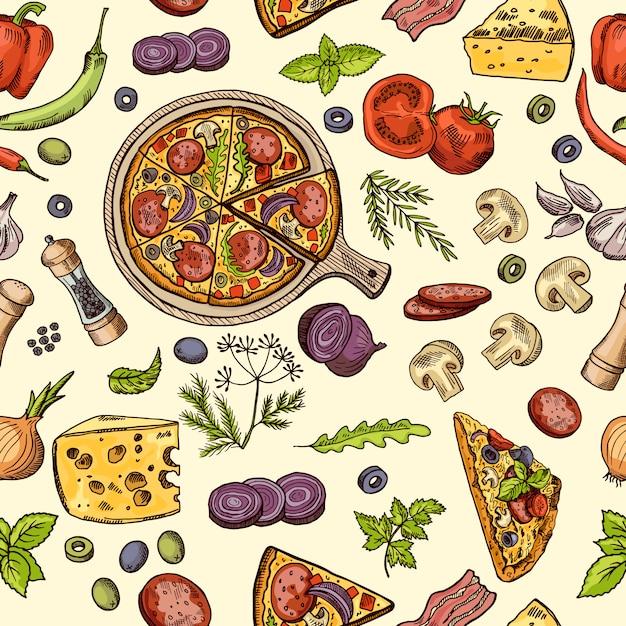 Klasyczne włoskie jedzenie Premium Wektorów