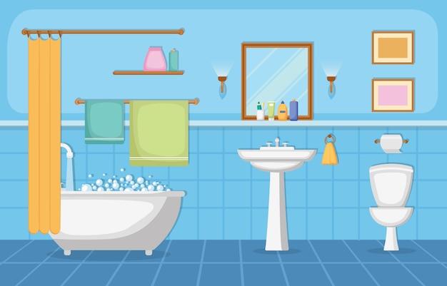 Klasyczne Wnętrze łazienki Czysty Pokój Drewniany Akcent Meble Płaska Konstrukcja Premium Wektorów