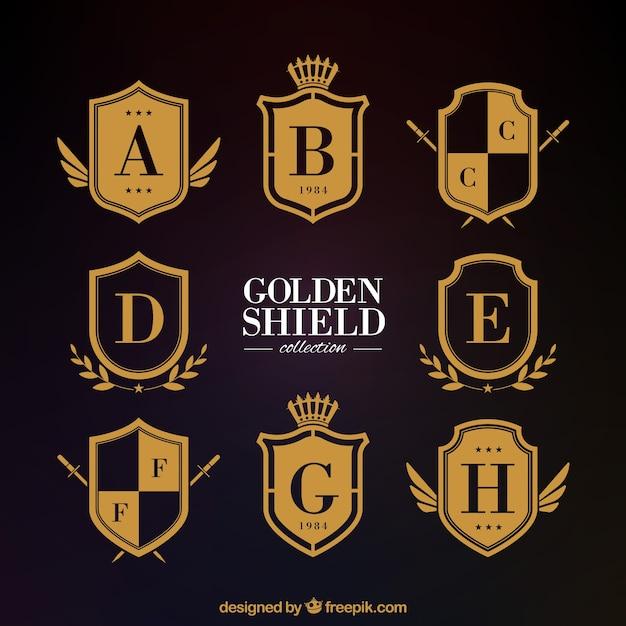 Klasyczne złote tarcze heraldyczne Darmowych Wektorów