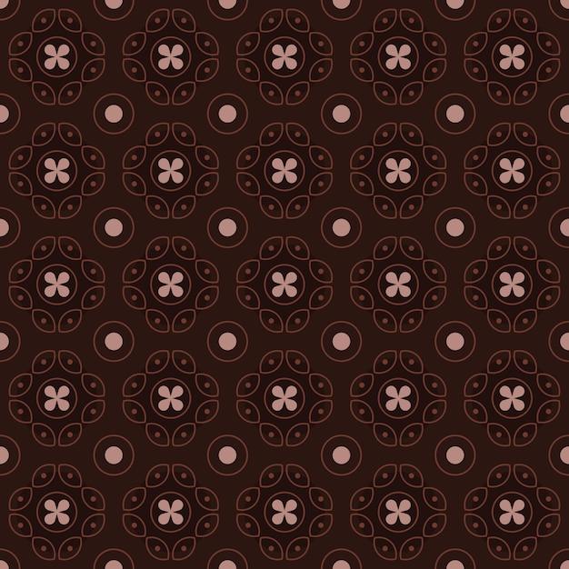 Klasyczny Batik Bezszwowe Tło Wzór. Luksusowa Tapeta Geometryczna Mandali. Elegancki Tradycyjny Motyw Kwiatowy W Kolorze Brązowym Premium Wektorów
