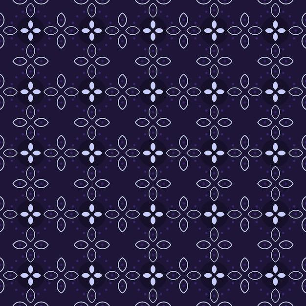 Klasyczny Batik Bezszwowe Tło Wzór. Luksusowa Tapeta Geometryczna Mandali. Elegancki Tradycyjny Motyw Kwiatowy W Kolorze Fioletowym Premium Wektorów