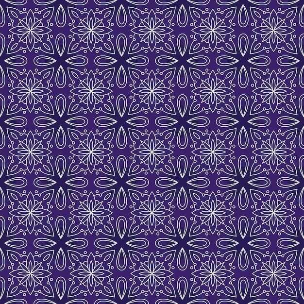 Klasyczny Batik Bezszwowe Tło Wzór. Tapeta Luksusowych Liści Mandali Elegancki Tradycyjny Motyw Kwiatowy Premium Wektorów