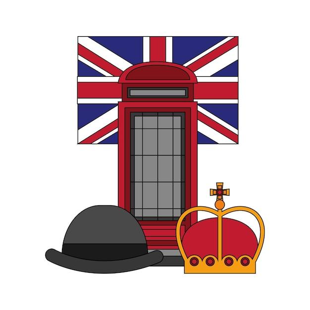 Klasyczny Brytyjski Budka Telefoniczna Z Flagą I Zestaw Ikon Premium Wektorów