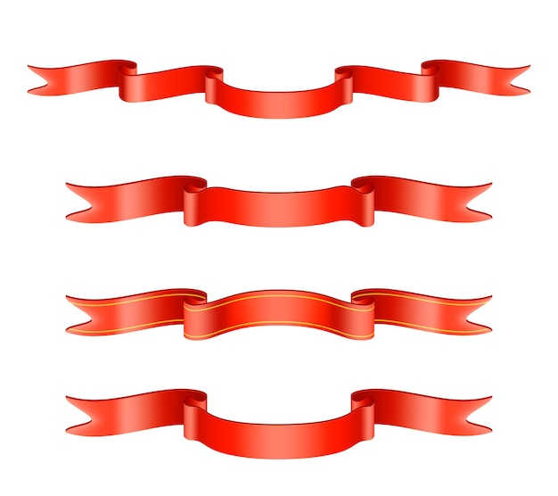 Klasyczny Czerwony Zestaw Wstążek Darmowych Wektorów