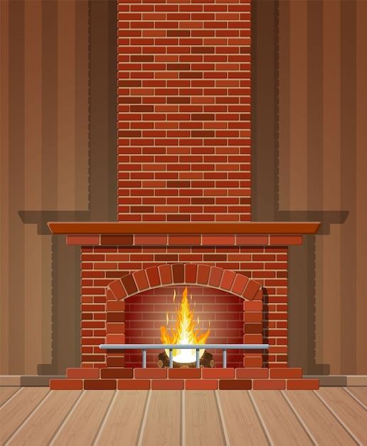 Klasyczny Kominek Z Czerwonej Cegły, Jasnego Płomienia I Tlących Się Polan Premium Wektorów