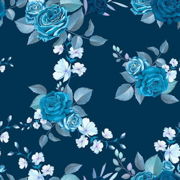 Klasyczny Niebieski Wzór Z Kwiatami Darmowych Wektorów
