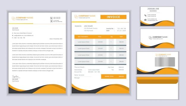 Klasyczny Projekt Identyfikacji Wizualnej Firm Papeterii Z Szablonem Papieru Firmowego, Faktury I Wizytówki. Premium Wektorów