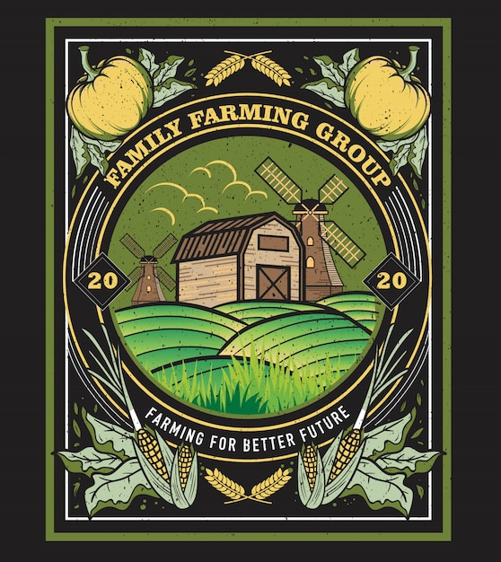 Klasyczny Rocznik Oprawione Ilustracji Dla Rodzinnej Grupy Rolniczej Premium Wektorów