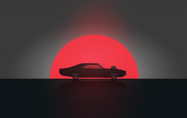 Klasyczny samochód amerykański vintage widok z boku w sylwetka zachód. . szablon plakatu. Premium Wektorów