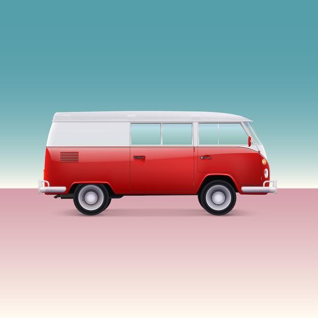 Klasyczny Samochód Kempingowy Premium Wektorów