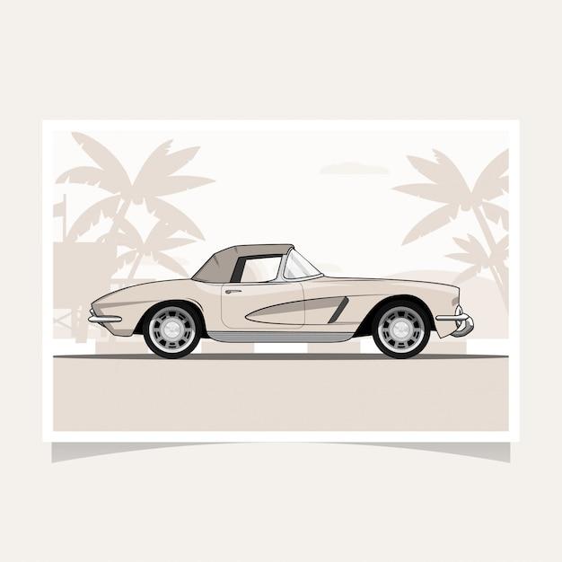 Klasyczny samochód koncepcyjny projekt płaski wektor Premium Wektorów