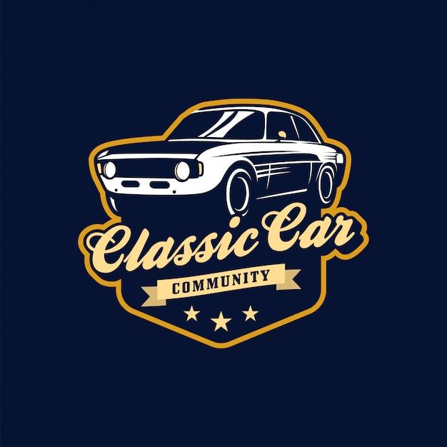 Klasyczny Samochód Wektor Insygnia Lub Logo Premium Wektorów