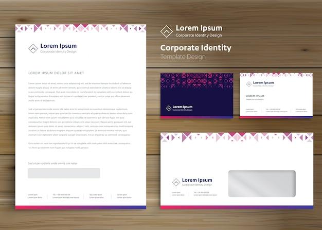 Klasyczny szablon papeterii korporacyjnej tożsamości korporacyjnej Premium Wektorów