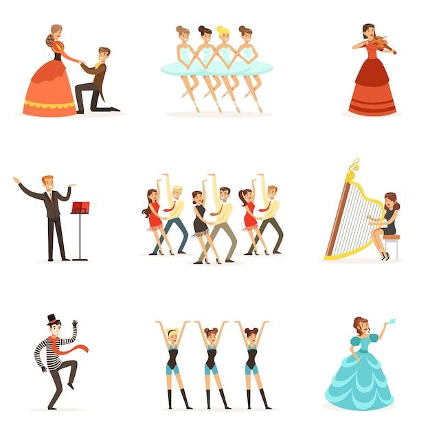 Klasyczny Teatr I Artystyczne Przedstawienia Teatralne Zestaw Ilustracji Z Operą Premium Wektorów