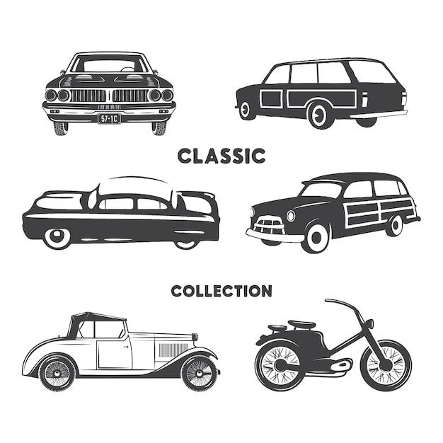 Klasyczny zestaw samochodów sylwetka. vintage samochody i motocykle kształty, ikony na białym tle Premium Wektorów