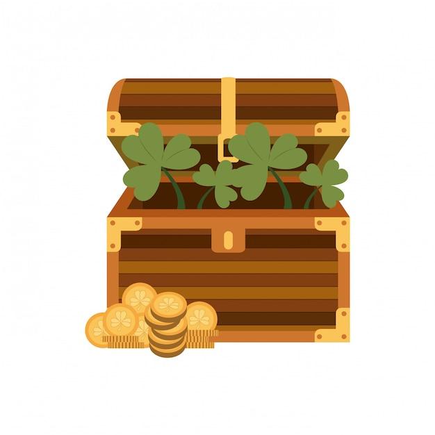 Klatka piersiowa z monetami na białym tle ikona Premium Wektorów