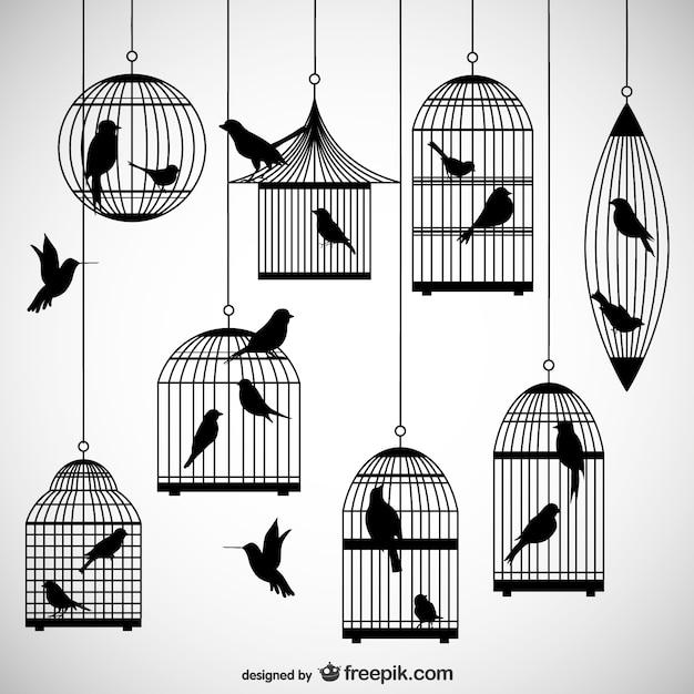 Klatki Dla Ptaków Sylwetki Opakowanie Darmowych Wektorów