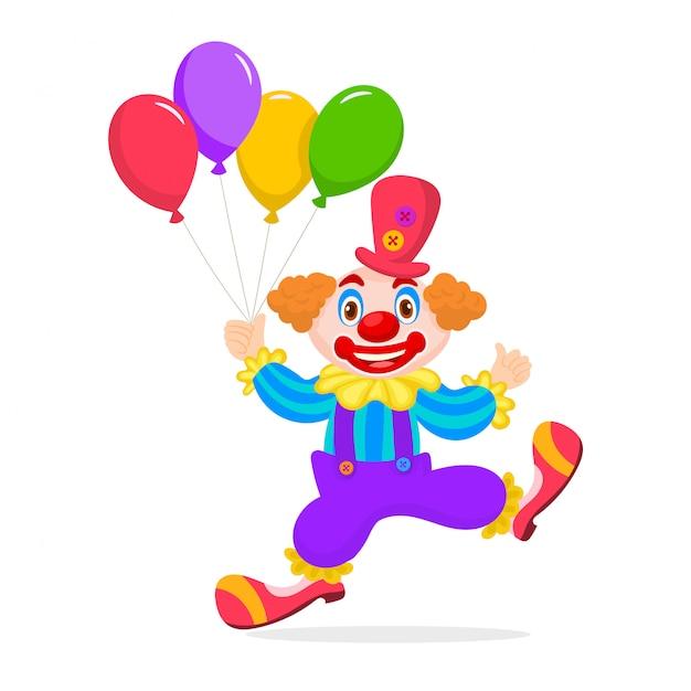 Klaun dziecko urodziny z bukietem balonów Premium Wektorów