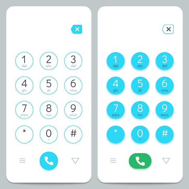 Klawiatura Telefonu. Klawiatura Ekranowa Smartfona Z Cyframi. Premium Wektorów