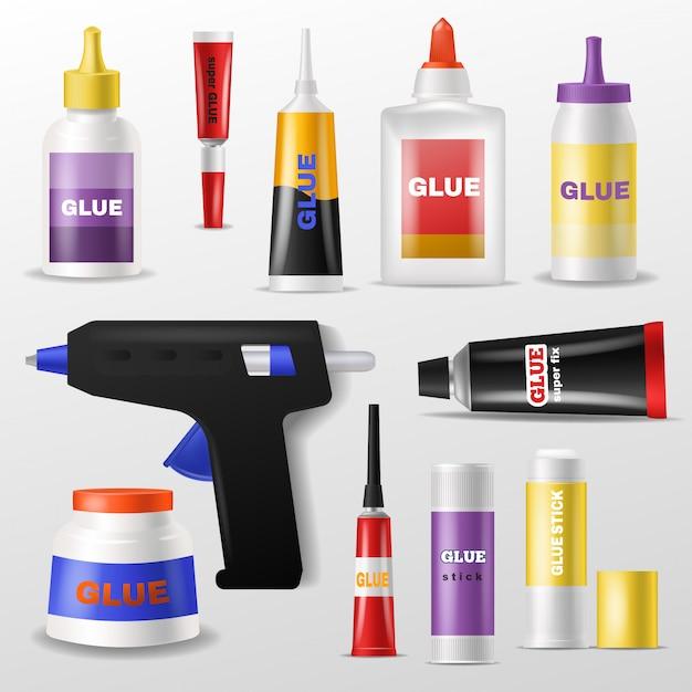 Klej Wektor Klej I Płyn W Butelce Lub Plastikowej Tubie Do Klejenia Papieru Ilustracja Zestaw Superglue Do Mocowania Na Białym Tle Premium Wektorów