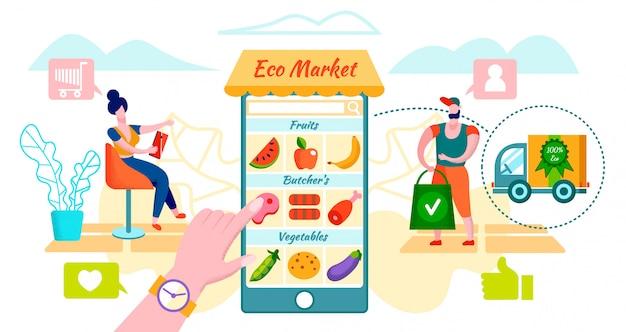 Klienci Zamawiający Ekologiczne Jedzenie Przy Użyciu Aplikacji Mobilnej. Premium Wektorów