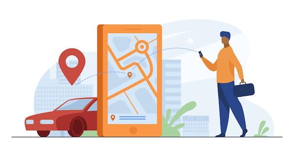 Klient Korzystający Z Aplikacji Online Do Zamówienia Taksówki Lub Wynajmu Samochodu Darmowych Wektorów