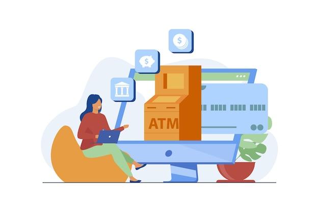 Klient Korzystający Z Usługi Banku Internetowego. Kobieta Za Pomocą Komputera Do Płatności I Transakcji Płaskich Ilustracji Wektorowych. Internet, Finanse, Technologia Darmowych Wektorów
