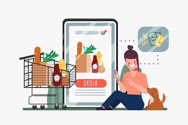 Klient Robi Zakupy Online Na Smartfonie. Supermarket Internetowy Dom Towarowy. Nowy Normalny Styl życia Na Zakupy. Premium Wektorów