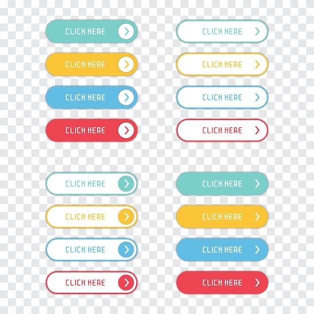 Kliknij tutaj, przyciski ustawione na przezroczystym tle. Premium Wektorów