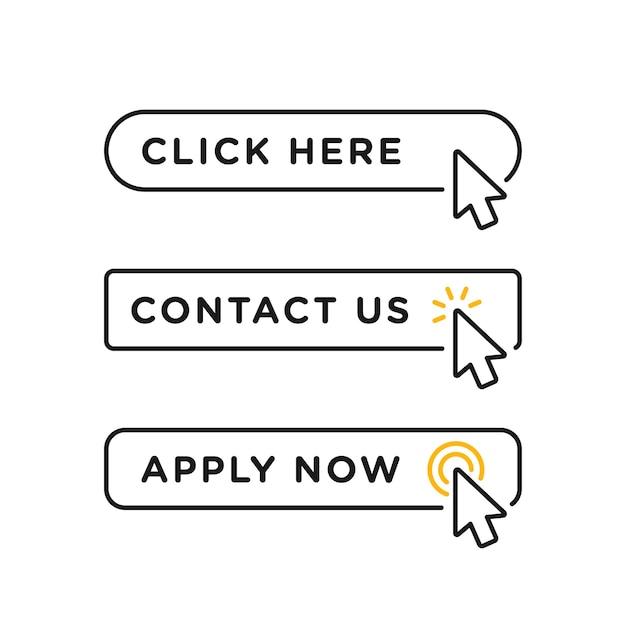 Kliknij Tutaj, Skontaktuj Się Z Nami I Zastosuj Teraz Pusty Przycisk W Stylu Linii Premium Wektorów