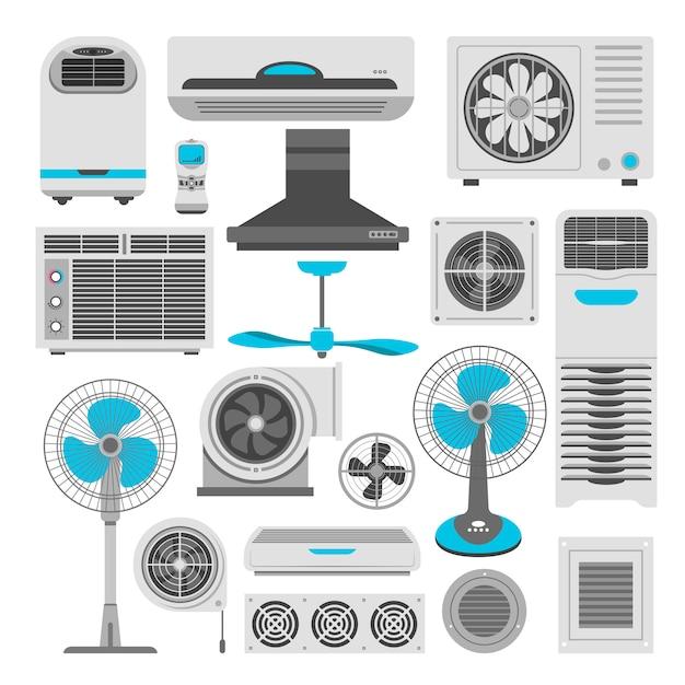 Klimatyzatory i wentylatory lub nawilżacze oczyszczaczy powietrza Premium Wektorów