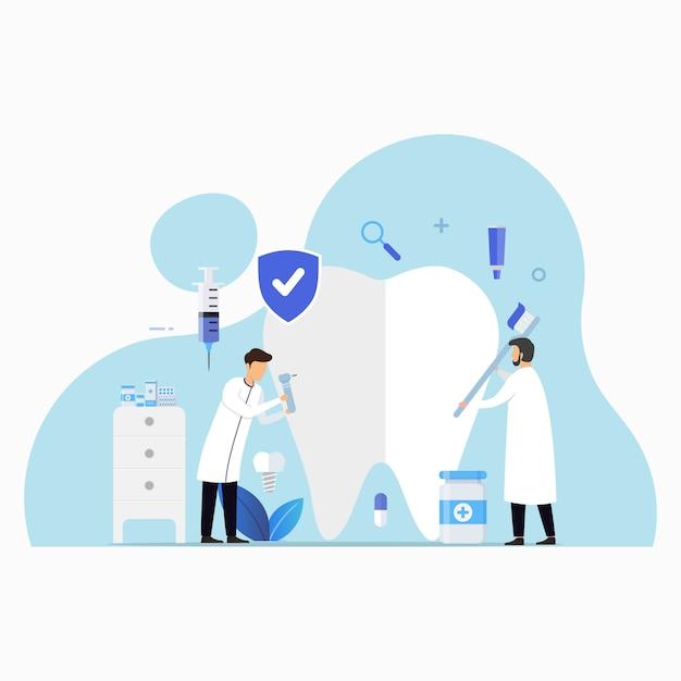 Klinika Opieki Stomatologicznej Dla Ilustracji Koncepcji Projektu Sprawdzania Premium Wektorów