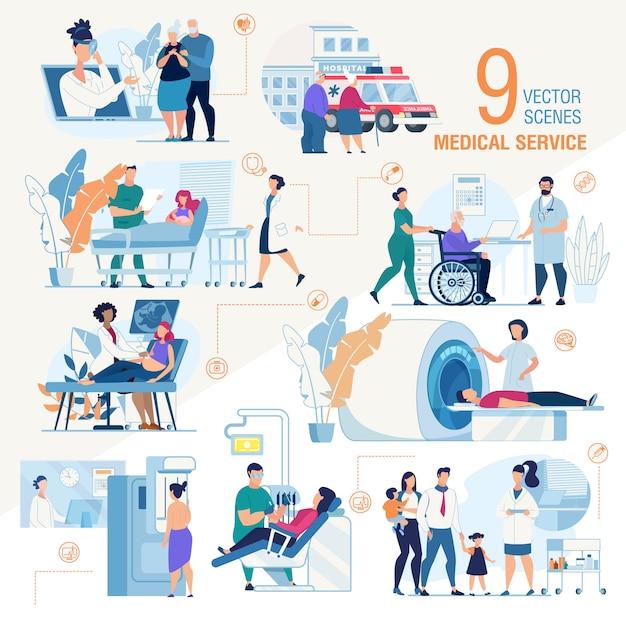 Klinika usługi medyczne zestaw scen płaskich Premium Wektorów