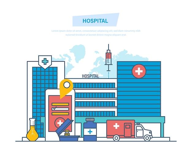 Klinika Zewnętrzna, Szpital Architektury Medycznej Cienka Linia. Premium Wektorów