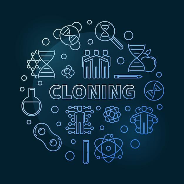 Klonowanie Błękitnego Nowożytnego Konturu Ikony Round Ilustracja Premium Wektorów