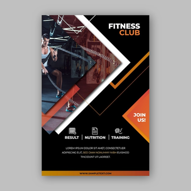 Klub Fitness Projekt Plakatu Sportowego Darmowych Wektorów