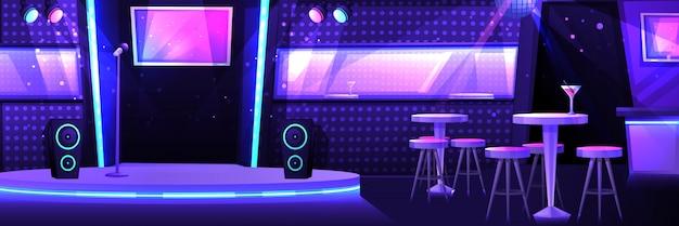 Klub Karaoke Ze Sceną I Mikrofonem Premium Wektorów