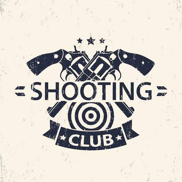 Klub Strzelecki, Godło Grunge, Odznaka Ze Skrzyżowanymi Broniami, Ilustracja Premium Wektorów