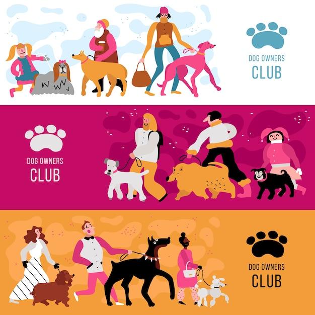 Klub Właścicieli Psów Poziome Bannery Z Dorosłymi I Dziećmi, Na Białym Tle Różne Rasy Psów Darmowych Wektorów