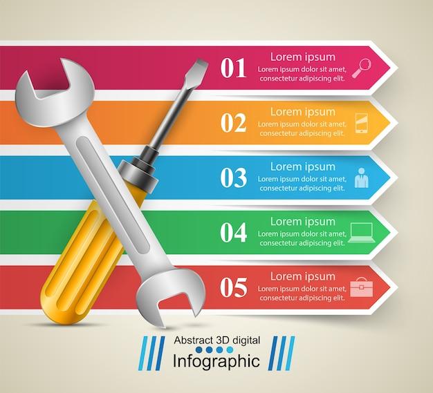 Klucz, śruba, ikona naprawy infografika biznesowych Premium Wektorów
